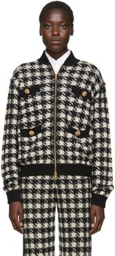Black and Off-White Short Houndstooth Bomber