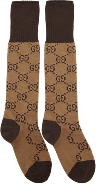 Brown and Beige GG Long Socks