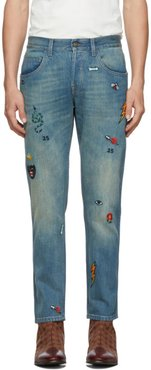 Blue Symbol Tapered Jeans