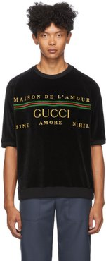 Black Embroidered Chenille T-Shirt