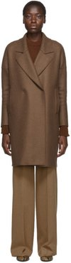 Brown Pressed Wool Fitted Sleeves Coat