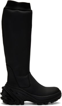 Black Fixed Sole Knee Boots