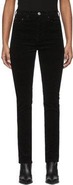 Black Corduroy Double Needle Long Jeans