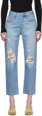 Blue 501 Original Cropped Ripped Jeans