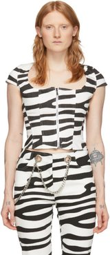 Black and White Denim Martine Corset T-Shirt