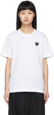 White and Black Mens Fit Heart T-Shirt