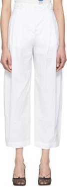 White Canvas Crinkle Trousers