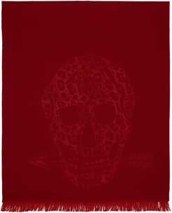 Red Wool Leopard and Skull Scarf