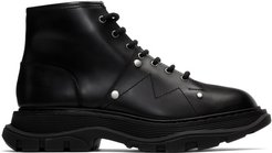Black Tread Lace-Up Boots