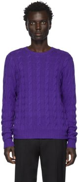 Purple Cashmere Cable-Knit Sweater