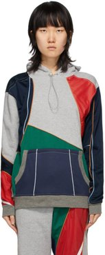 Grey and Multicolor Patchwork Hoodie