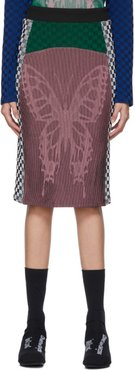 SSENSE Exclusive Pink and Green Illusion Knit Farfalla Pencil Skirt
