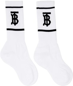 White Monogram Socks