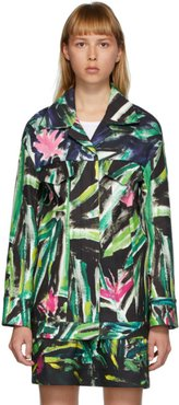 Green and Multicolor Print Jacket