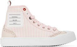 Pink and White Striped Brogued High-Top Sneakers
