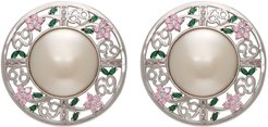 SSENSE Exclusive Pink 69 Floral Disc Earrings