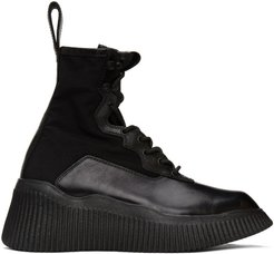 Black Panelled Lace-Up Boots