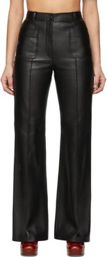 Black Leather Flared Trousers