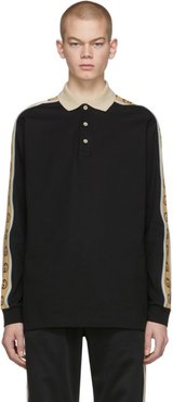 Black Cotton Pique Long Sleeve Polo