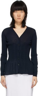 Navy Pleated Waist Cardigan