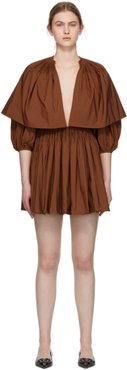 Brown Pleated V-Neck Mini Dress