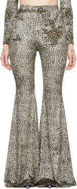 Black and Beige Leopard Evening Flared Lounge Pants