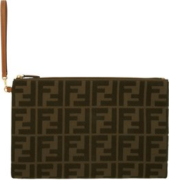 Green Canvas Forever Fendi Embossed Pouch