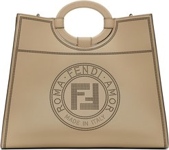 Beige Large Perforated Runaway Shopper Tote