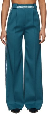 Blue High-Waisted White Stitch Trousers