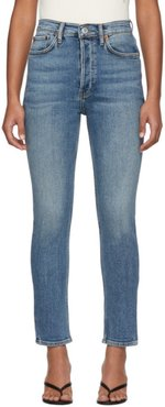 Blue High-Rise Ankle Crop Jeans