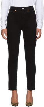Black High Rise Ankle Crop Jeans