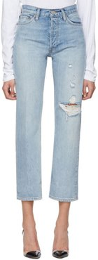 Blue 90s Loose Straight Jeans