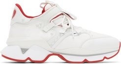 White and Red Runner Flat Sneakers