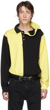 Black and Yellow Asymmetric Collar Polo