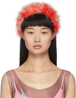 Red Feathers Poppy Headband