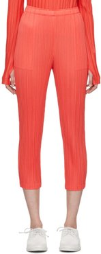 Red Pleats Slim Trousers
