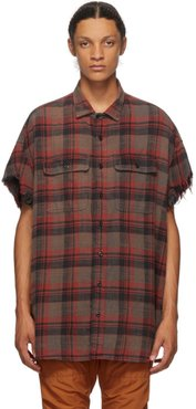 Red and Black Oversize Cut-Off Shirt