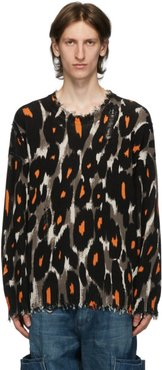 Black and Brown Leopard Oversized Crewneck Sweater