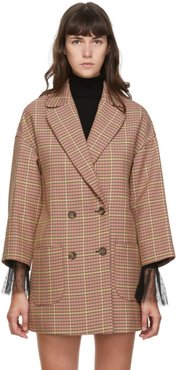 Pink Plaid Double Breasted Coat