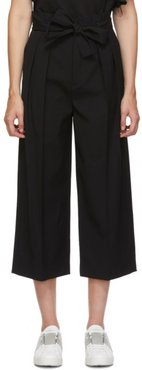 Black Gabardine Cropped Trousers