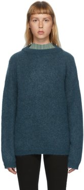 Blue Wool and Mohair Oversized Sweater