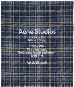 Blue and Beige Checked Logo Scarf