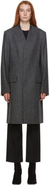 Grey and Black Wool Houndstooth Coat