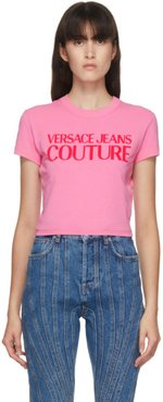 Pink Cropped Logo T-Shirt