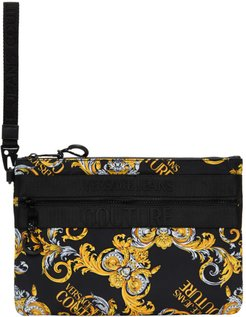 Black and Gold Barrocco Logo Pouch