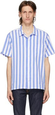 Blue and White Striped Poplin Short Sleeve Shirt