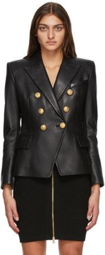 Black Leather Double-Breasted Jacket