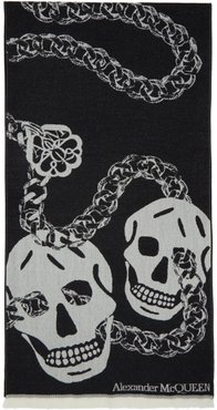 Black and White Wool Oversized Skull Scarf