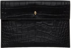 Black Croc Envelope Pouch