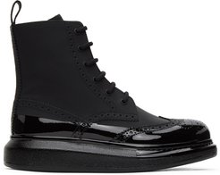 Black Perforated Hybrid Lace-Up Boots